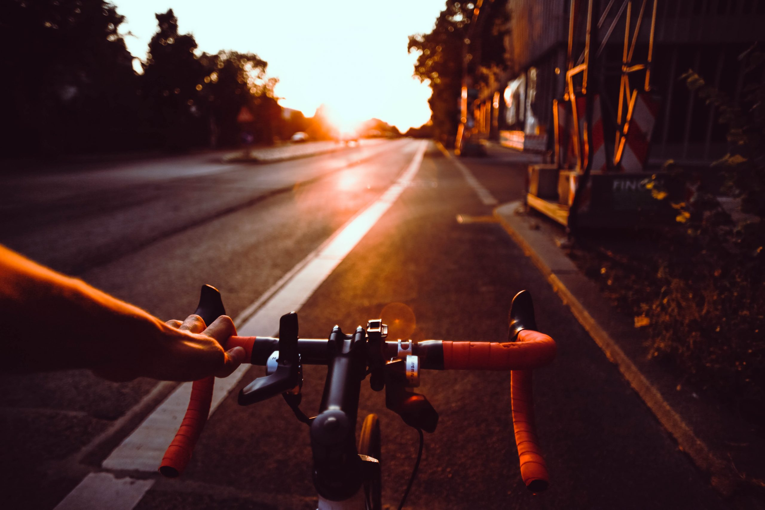 Cycling down a road