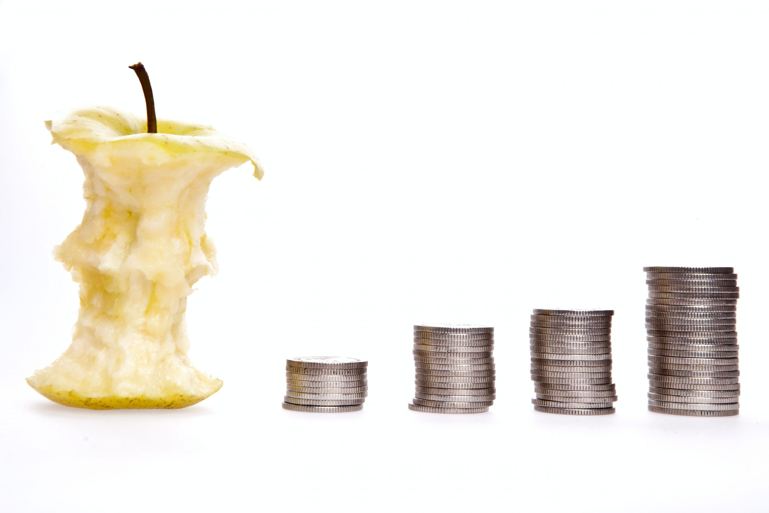 Money and an apple