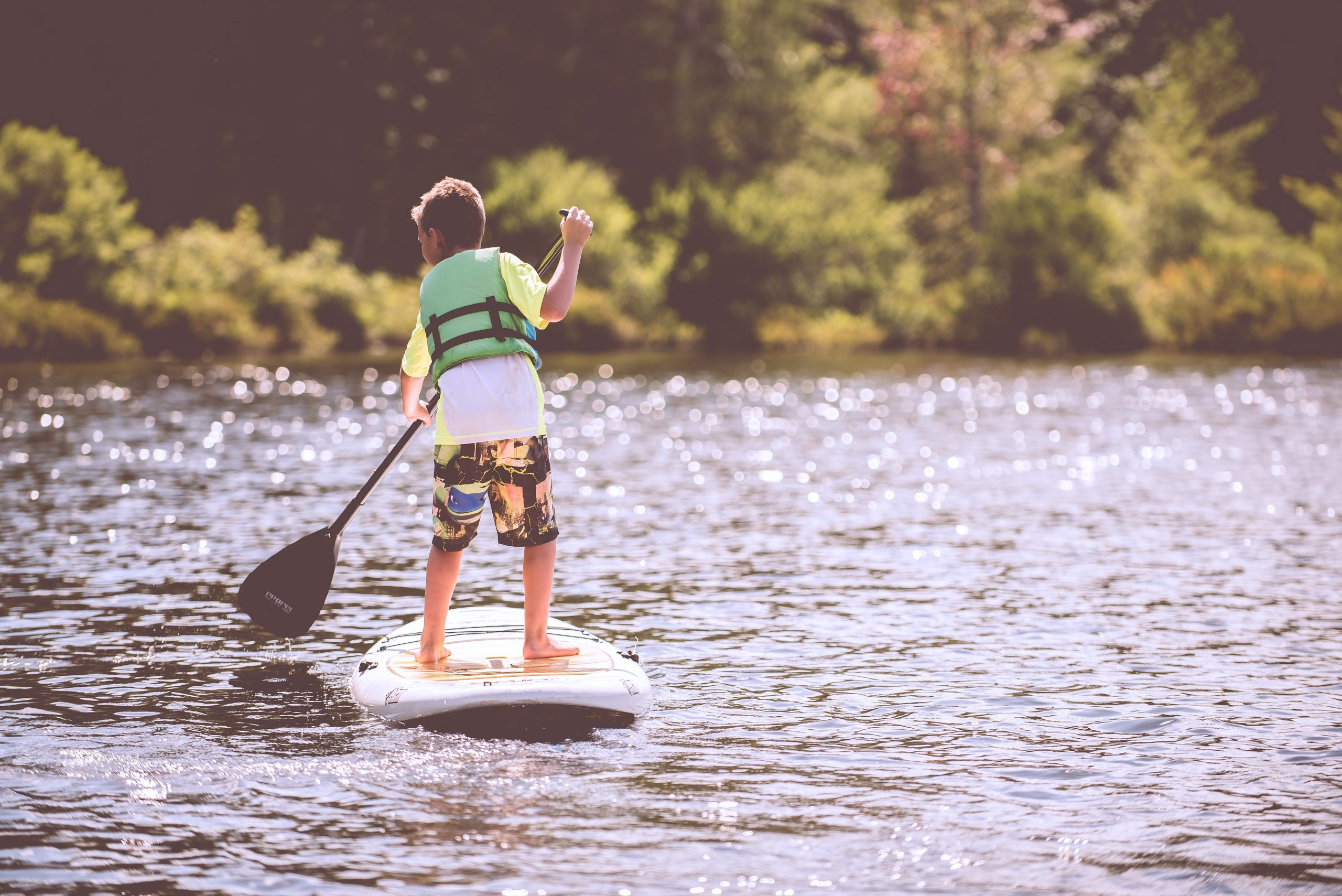 Boy on the lake in summer
