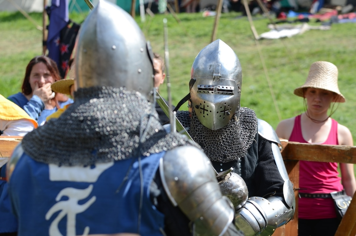 Two men having a medieval duel