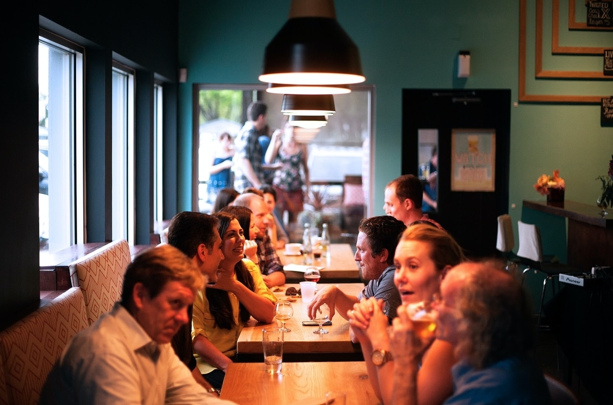 People seated in a restaurant