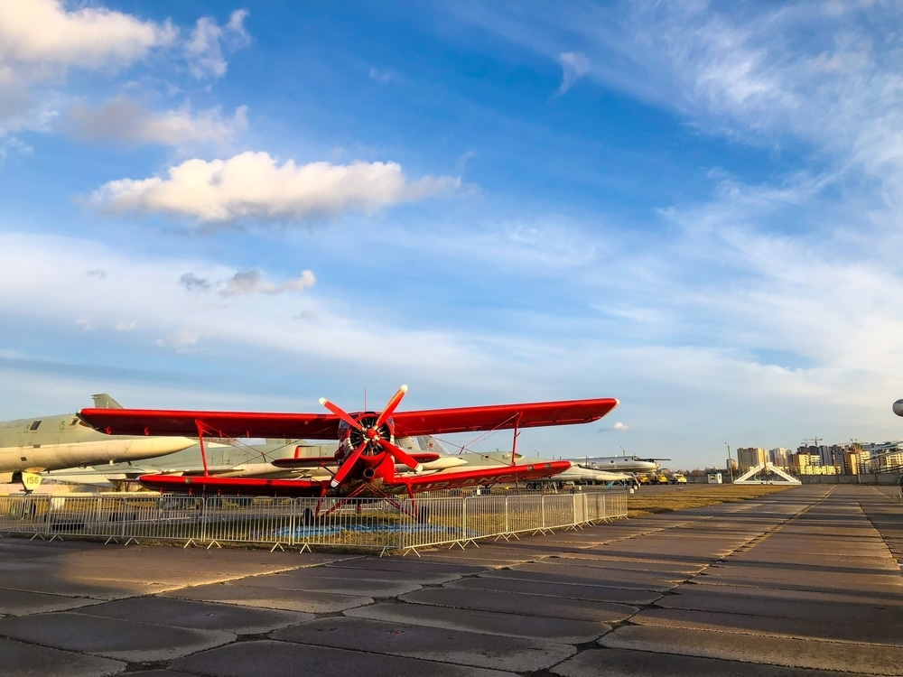 A red plane in the distance